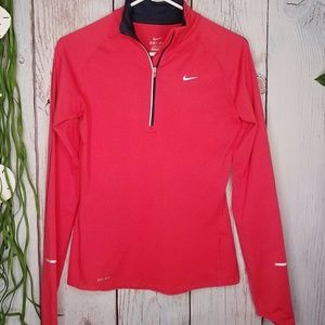 Nike~Red Orange Long Sleeve Zipper Pullover~Small